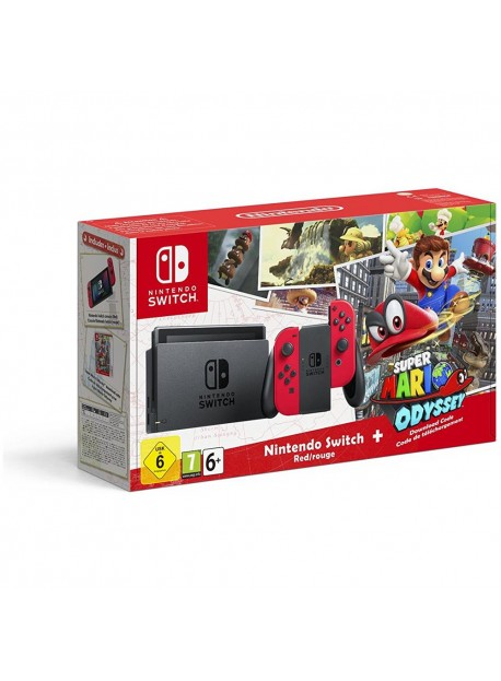 Switch Console Red + Super Mario Odyssey
